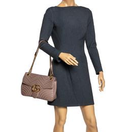 Gucci Old Rose Pink Matelasse Leather Medium GG Marmont Shoulder Bag 294850