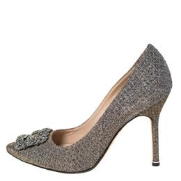 Manolo Blahnik Silver Glitter Fabric Hangisi Crystal Embellished Pumps Size 39.5 294856