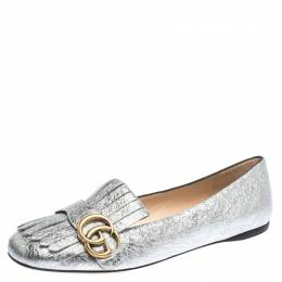 Gucci Silver Textured Leather GG Marmont Fringe Loafers Size 39 294844