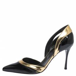 Sergio Rossi Black Patent And Gold Leather Pointed Toe D'orsay Pumps Size 38.5 294849
