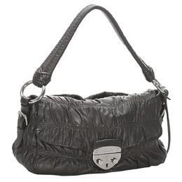 Prada Black Gaufre Leather Shoulder Bag 294067