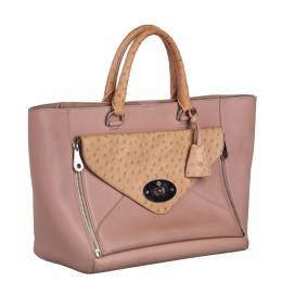 Mulberry Pink/Brown Leather And Ostrich-Trimmed Willow Tote Bag 293867