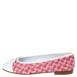 Chanel Red/White Tweed Fabric And Leather CC Cap Toe Bow Ballet Flats Size 41 294874
