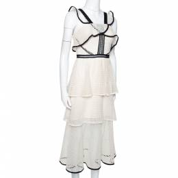 Self-Portrait Off White Lace Contrast Flounce Tiered Dress S 294871