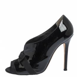 Dolce&Gabbana Black Patent And Grosgrain Bow Peep Toe Pumps Size 37.5 294899