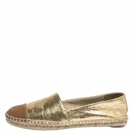 Tory Burch Gold Crackle Leather And Brown Leather Cap Toe Espadrilles Size 38 294594