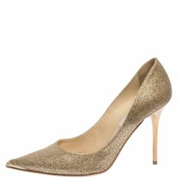 Jimmy Choo Metallic Gold Lamè Glitter Abel Pointed Toe Pumps Size 38.5 294881