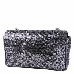 Chanel Silver Sequin Fabric Medium Flap Bag 294080