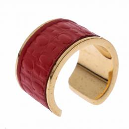 Ch Carolina Herrera Red Leather Gold Tone Open Ring Size 57 294417