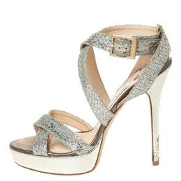 Jimmy Choo Metallic Gold Glitter Vamp Platform Strappy Sandals Size 38 294744