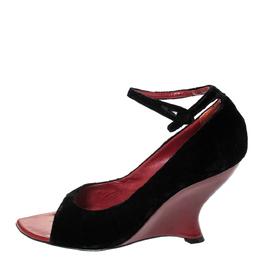 Saint Laurent Black Velvet Tai Tai Wedge Open Ankle Strap Sandals Size 39.5 294741