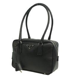 Prada Black Saffiano Leather Bauletto Shoulder Bag 293928