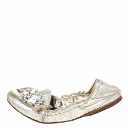 Miu Miu Gold Leather Crystal Embellished Scrunch Ballet Flats Size 37.5 294533
