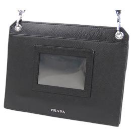 Prada Black Leather Saffiano Logo Crossbody Bag 293983