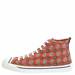 Burberry Red Canvas Kingly Print High Top Sneakers Size 45 294618