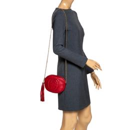 Gucci Red Leather Mini Soho Disco Chain Crossbody Bag 294765
