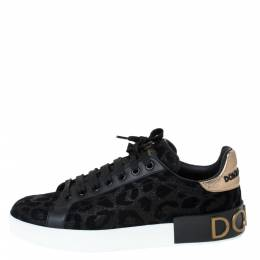 Dolce&Gabbana Black Leopard Print Fabric And Leather Portofino Low Top Sneakers Size 38.5 294977