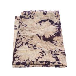 Roberto Cavalli Purple & Cream Damask Foil Print Silk Scarf 292755