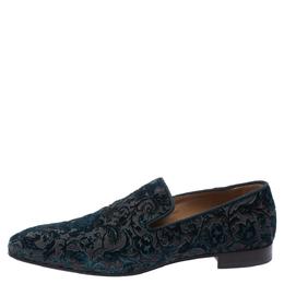 Christian Louboutin Blue Brocade Velvet Dandelion Loafers Size 42.5 294700