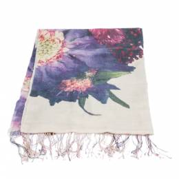 Roberto Cavalli Mauve Floral Print Cashmere Blend Fringed Scarf 292760