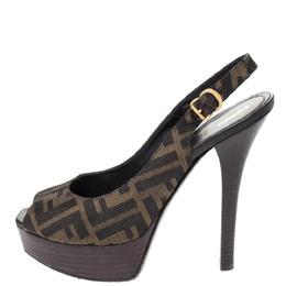 Fendi Tobacco Zucca Canvas Fendista Platform Slingback Sandals Size 39.5 294519