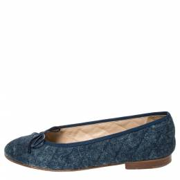 Chanel Blue Quilted Denim 'CC' Bow Ballet Flats Size 38 294953