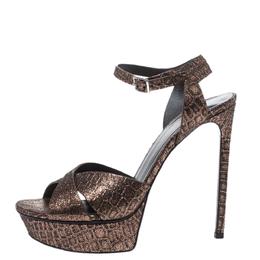 Saint Laurent Bronze/Black Croc Embossed Cross Strap Platform Sandals Size 38.5 294713