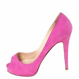 Christian Louboutin Pink Suede Hyper Prive Peep Toe Platform Pumps Size 36.5 294505