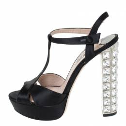 Miu Miu Black Cut Out Satin T Strap Crystal Embellished Heel Platform Sandals Size 38 294535