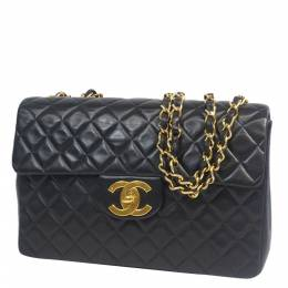 Chanel Black Quilted Lambskin Leather Classic Maxi Single Flap Bag 290251