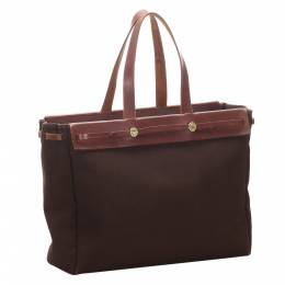 Hermes Brown Canvas And Leather Herbag Cabas MM Bag 291558