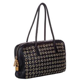 Prada Black Leather Grommet Shoulder Bag 291323