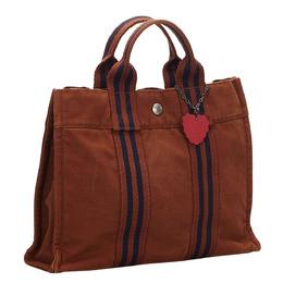 Hermes Brown/Blue Canvas Fourre Tout PM Bag 260142