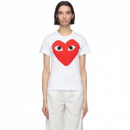 Comme Des Garcons Play White and Red Double Large Hearts T-Shirt P1T025