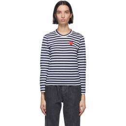 Comme Des Garcons Play Navy and White Striped Heart Patch Long Sleeve T-Shirt P1T009