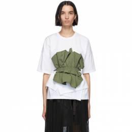 Enfold Khaki and White Cut Layered T-Shirt 300DA380-0470