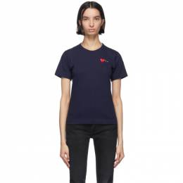 Comme Des Garcons Play Navy and Red Double Hearts T-Shirt P1T225