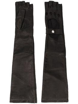 Manokhi перчатки-митенки с вырезами AW20MANO131A396BIKERLONGGLOVESBLACKFARADEGETE