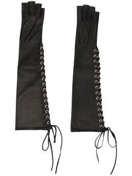 Manokhi перчатки-митенки на шнуровке AW20MANO131A131LONGGLOVESWITHSIDELACEBLACKFARADEGETE