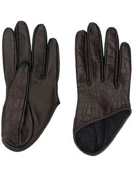 Manokhi перчатки асимметричного кроя с тиснением AW20MANO161A3SHORTCROCCOEMBOSSEDGLOVESBLACK