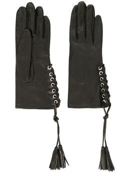 Manokhi перчатки на шнуровке AW20MANO161A998BLACKSHORTGLOVESWITHTASSEL