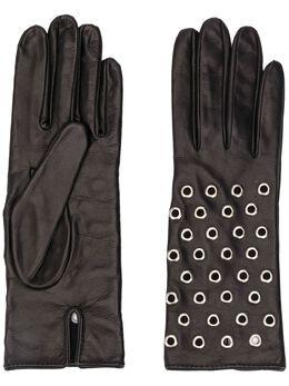 Manokhi фактурные перчатки с люверсами AW20MANO161A998MANUSISCURTEOCHETIBLACK