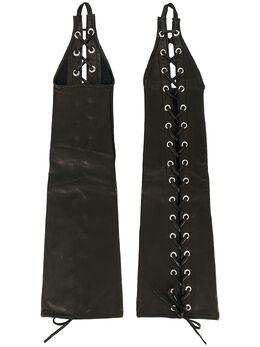 Manokhi перчатки-митенки на шнуровке AW20MANO216A96LONGGLOVESWITHLACEUNDEGET