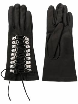 Manokhi фактурные перчатки на шнуровке AW20MANO161A998SHORTLACEGLOVES1BLACKCUOCHETI