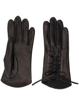 Manokhi фактурные перчатки на шнуровке AW20MANO161A3SHORTLACEGLOVES2BLACKFARAOCHETI
