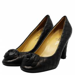Chanel Black Leather CC Camellia Pumps Size 36 294442