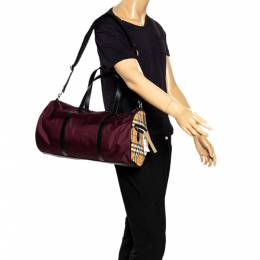Burberry Dark Burgundy/Beige Nylon Medium Kennedy Duffel Bag 294801