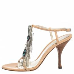 Fendi Beige Leather Metal Peacock Feather T Strap Sandals Size 38 294830