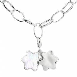 Montblanc Star Mother of Pearl Silver Chain Link Charm Bracelet 295053