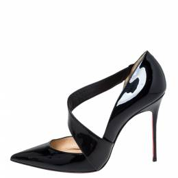 Christian Louboutin Patent Leather D'Orsay Cross Strap Pointed Toe Pumps Size 40 295084